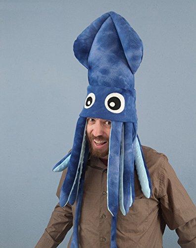 Handmade Large Fleece Squid Hat: Blue Tie-Dye