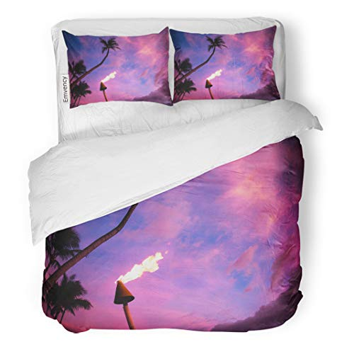 Semtomn Decor Duvet Cover Set King Size Blue Hawaii Lit Tiki Torch Against Colorful Tropical Sunset Palm Trees Pink Big 3 Piece Brushed Microfiber Fabric Print Bedding Set Cover
