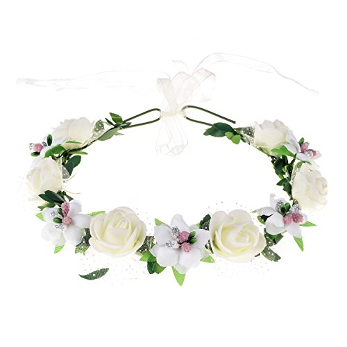 June Bloomy Rose Floral Crown Wreath Girls Flower Headband Boho Garland Halo Headpiece (White)