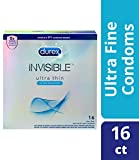 Durex Invisible Ultra Thin Condoms, Ultra Sensitive Ultra Fine, Natural Latex With Lube and Reservoir Tip. Durex's Thinnest Condom for Men, HSA Eligible, 16 Count