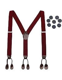 Mens Button End Elastic Suspenders - Adjustable Y shape Formal Suspender (Wine red