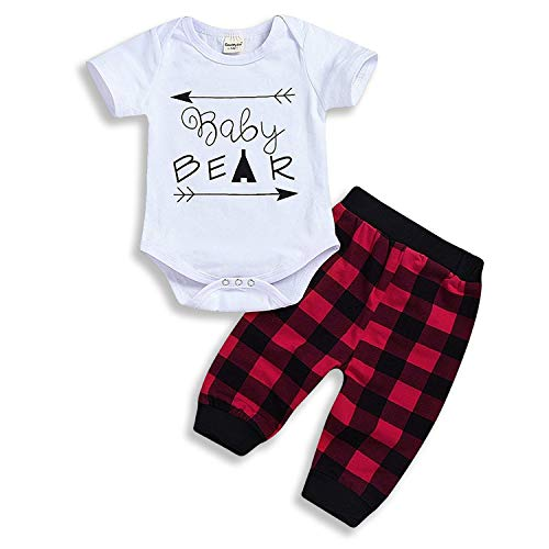 HappyMA Newborn Infant Baby Boy Girl Outfits Baby Bear Romper+Plaid Pants Summer Clothes (White Short, 0-3 Months)]()