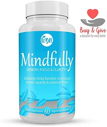 MINDFULLY Nootropic Brain Booster - Citicoline, Lion's Mane, Bacopa Monnieri & Ginkgo Biloba Supplement to Support Memory, Focus & Cognitive Function - 60 Vegetarian Capsules