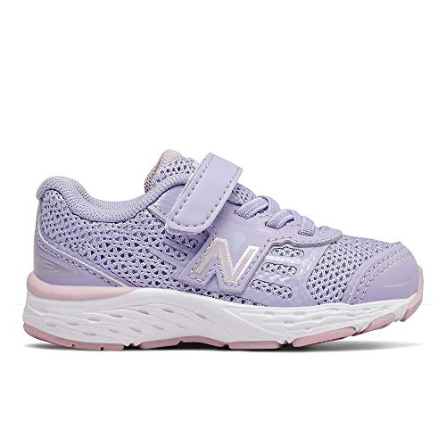 New Balance Girls' 680v5 Hook and Loop Running Shoe, Clear Amethyst/Oxygen Pink, 8.5 M US Toddler
