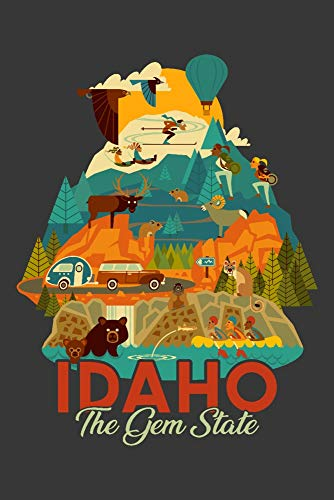 Idaho - Gem State - Geometric - Contour 95734 (12x18 SIGNED Print Master Art Print w/Certificate of Authenticity - Wall Decor Travel Poster)