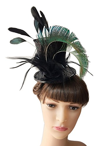 YSJOY Kentucky Mini Top Hat Feather Fascinator Victorian Decorative Top Hat a479ee500515