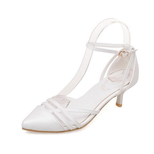 AmoonyFashion Womens Buckle Pointed Closed Toe Kitten Heels Solid Pumps Shoes White VVEte