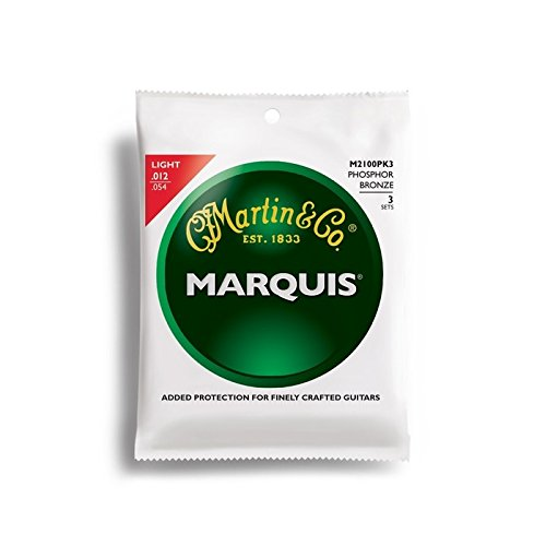 Martin Acoustic Marquis (Martin M2100 Marquis Phosphor Bronze Acoustic Strings, Light 3 Pack)
