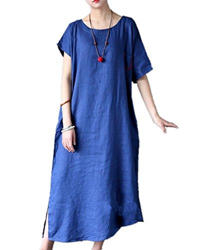Women's Asymmetric High Split Prom Dress (Blue) - 9