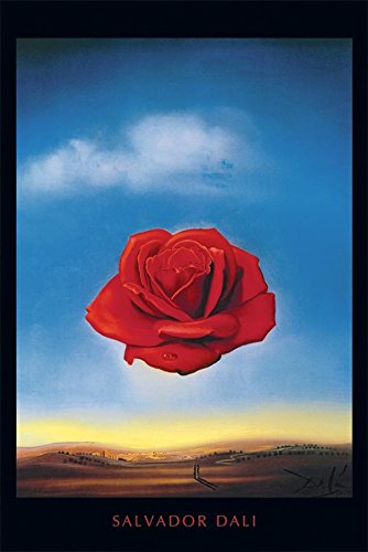 (Buyartforless Meditative Rose c 1958 by Salvador Dali 36x24 Art Print Poster Museum Masterpiece Red Rose Blue Sky Famous Painting)
