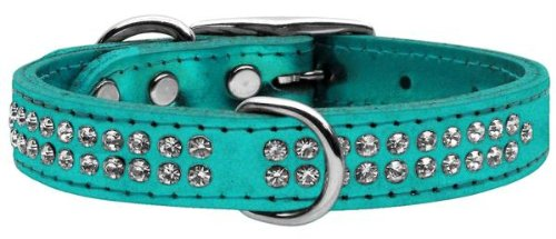 Mirage Pet Products Two Row Clear Crystal Metallic Leather Turquoise Dog Collar, 16