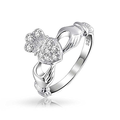 Bling Jewelry 925 Silver Irish Celtic Pave CZ Friendship Claddagh Ring