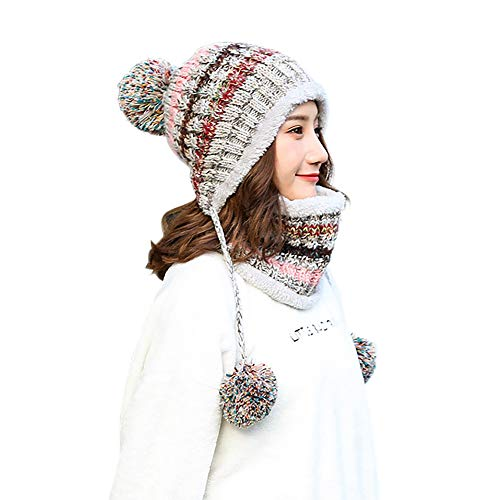 SCOWAY Womens Girls Knit Pom Pom Beanie Scarf Set Soft Warm Fleece Lined Winter Ski Hat with Earflap and Braids (Gray)