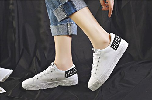 Zapatos de Cordones Zapatos Zapatillas Casual Blancos Estudiante Zapatos de Primavera Chicas White de Alpargatas CU4vwRqWX