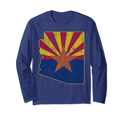 Arizona Long Sleeve T-shirt (Unisex State Outline of Arizona Flag Long Sleeve Shirt Large Navy)