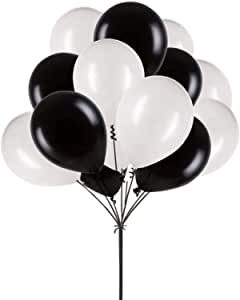 Inch White Black Balloons,100 pcs 12 Latex Balloons for Party Decoration Birthday Wedding Photo Shoot Event Graduation Party Christmas Baby Party