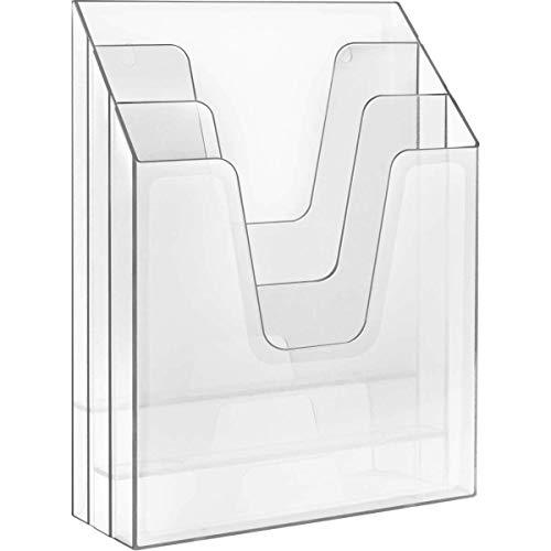 Acrimet Vertical Triple File Folder Organizer (Clear Crystal Color) - Landscape Magazine Holder