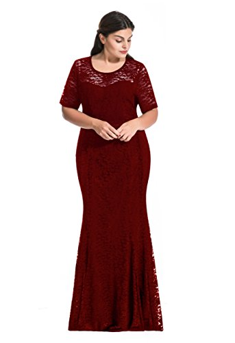 [Myfeel Women Plus Size Lace Ruched Empire Waist Sweetheart Mermaid Fishtail Cocktail Evening Dress (1X,] (Plus Size Evening Wear)