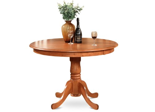 East West Furniture HLT-CHR-T Round Table, 42-Inch, Light Cherry Finish