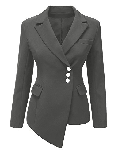 Women Grey Long Sleeve Slim Fit Asymmetrical Lapel Button Padded Office Blazer Suits Size L ( US 14-16) by GRAPENT