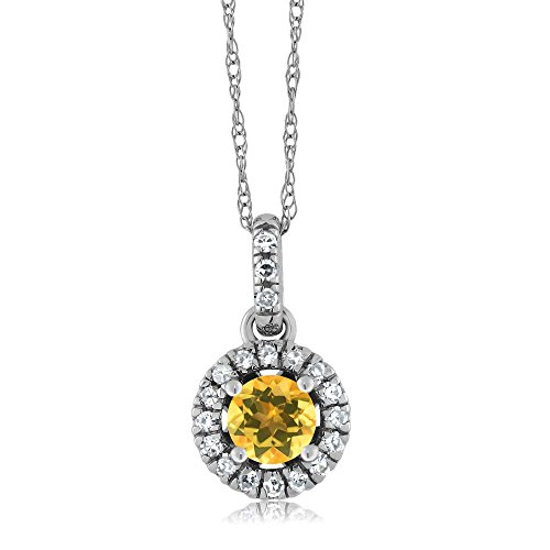 18K White Gold Diamond Halo Solitaire Pendant with 0.36 Ct Round Yellow Citrine by Gem Stone King