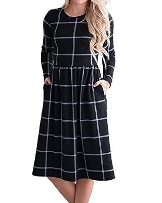 YOMISOY Womens Plaid T Shirt Dress Casual Long Sleeve Printed Tunic Midi Dresses