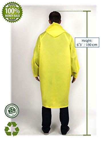 Men's BlinQ Chaqueta y Portátil Impermeable Capucha Poncho con Lluvia de Bolsillo Amarillo Lluvia Cordón Creations 54T4qnra