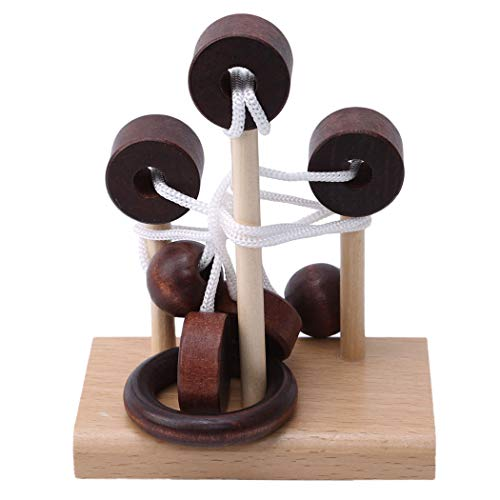 Puzzle Ring Solution - LIUCM Classical Wooden Puzzle Intelligence Toy Untie The Ring Unlock The Solution Solve The Rope Taoyuan Sanbai