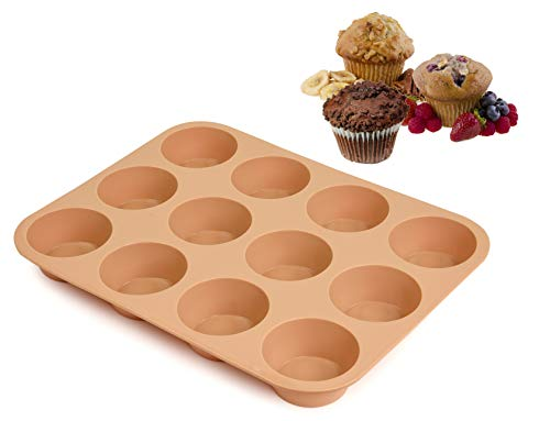 Silicone Muffin Pan - 12 Silicone Mold Large Cupcake Pan - Non Stick Silicone Molds for Baking Muffins, Cupcakes, Mini Cakes, Quiches - Hazelnut Color - Dishwasher Safe - BPA Free