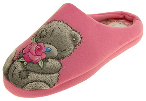 Womens 'Me To You' Bear Textile Mule Slippers Pink Bsq41