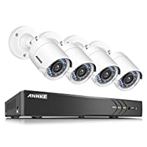 ANNKE H.264+ 4CH 3MP Extreme HD Video Surveillance Security DVR and (4) HDTVI1080P Wired Infrared Weatherproof Bullet CCTV Cameras, Email Alarm with Image, No Hard Drive