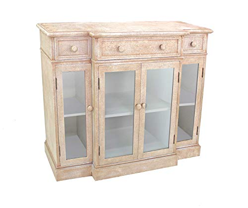 """HomeRoots Wood 34"""" X 14"""" X 42 Beige Vintage French Style Distressed Hallway Cabinet"""