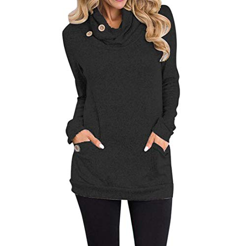 Kulywon Women Cowl Neck Button Slim Long Sleeve Pockets Blouse Tops Sweatshirt ()