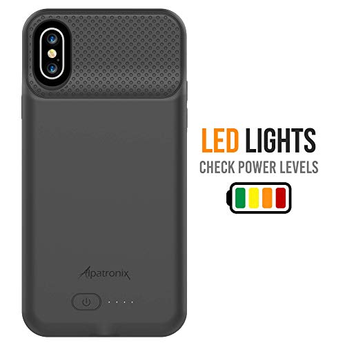 Alpatronix BXS 4200mAh Battery Case with Qi Wireless Charging Compatible for iPhone Xs & X (5.8-inch) 2020 Upgrade Now Compatible with Lightning Audio (Black)