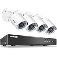 ANNKE Security Camera System 8-channel 1080P HD-TVI H.264+ Realtime DVR and (4) 2.0MP High-Resolution Weatherproof Outdoor Security Cameras with Motion-Triggered Email Alert ,NO HDD