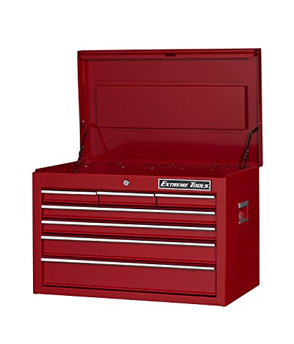 Extreme Tools EX2607CHRD Ex Standard Series 7-Drawer Top Chest with Ball Bearing Slides, 26-Inch, Red High Gloss Powder Coat Finish