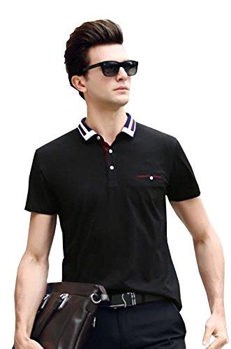PuHao (プハオ) メンズ ポロシャツ 半袖 夏 カジュアル スポーツウェア ゴルフウェア シンプル 通気性 薄手 吸汗 polo ファッション カッコイイ Tシャツ (ブラック04, XL)