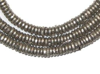 - Kenya Silver Heishi Beads - Full Strand of 3mm African Metal Disk Spacers - The Bead Chest
