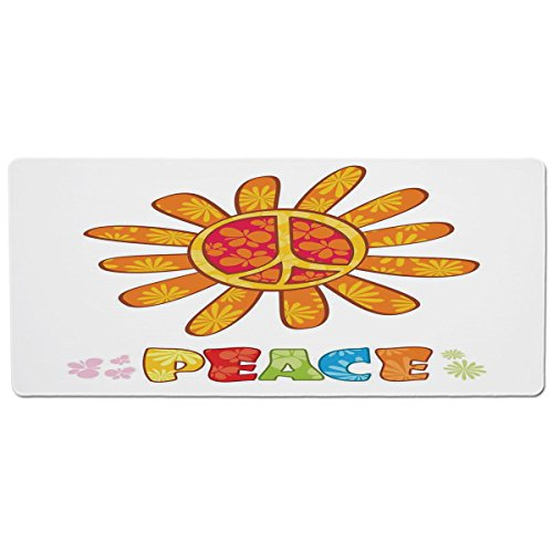ood and Water,Groovy Decorations,Peace with Original Nature Flower Design No War More Empathy for the Earth Moral Theme,Multi,Rectangle Non-Slip Rubber Mat for Dogs and Cats ()