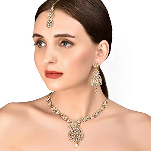 Traditional Indian Gold Jewelry - Touchstone Indian bollywood rhinestones bridal jewelry necklace set in antique gold tone for women