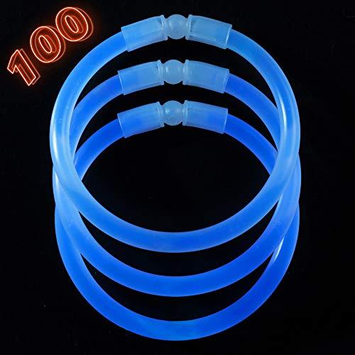 (Glow Sticks Bulk Party Supplies - 100 Light Stick Bracelets - Extra Bright Glow In The Dark Party Favors - 8