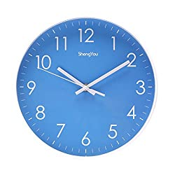 SonYo Indoor Non-Ticking Silent Quartz Modern Simple Wall Clock Digital Quiet Sweep Movement Office Decor 10 Inch(Blue)