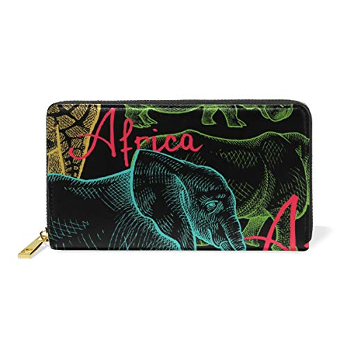 Lion Giraffe TIZORAX Zip Organizer Purses African Elephant And Clutch Womens Around Zebra Handbags Wallet RtRqHEw