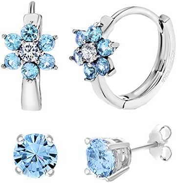 Sterling Silver Cubic Zirconia Created Gemstone Stud & Flower Earring Gift Set