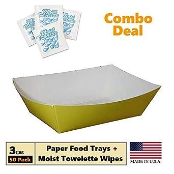 Bandejas de papel desechables de color amarillo de 3 libras, para alimentos, para barcos