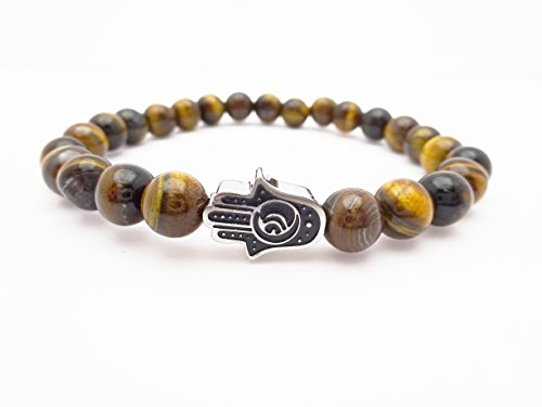 Eye of the Tiger Brown Bead Bracelet with Hamsa by Fine Jewelry 4 Me (Image #5)