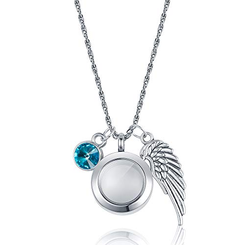 - starton Stainless Memorial Glass Locket Pendant - Cremation Jewelry - Ash Necklace - Urn Necklace - Pet Memorial - Vial Necklace - Vial for Hair(DEC)