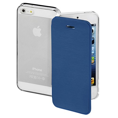 Hama - Clear Booklet Case for Apple iPhone 5/5s/SE, dark blue - Dark Blue - Synthetic Material (1 Accessories)