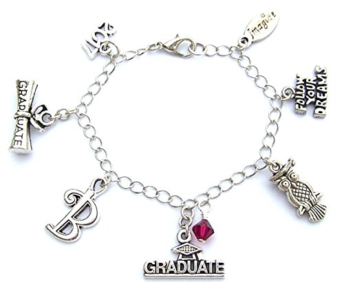 Color Birth Plate (Personalized graduation charm bracelet or necklace with initial and birthstone color, class of 2018 gift)