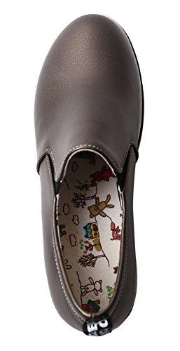 Amoonyfashion Mujeres Pu Solid Pull-on Round-toe Kitten-heels Bombas-zapatos Negro